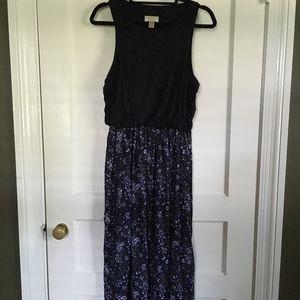 LOFT Navy Floral Midi Dress, Medium